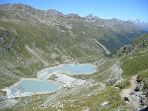 Barrhorn -Glacier lakes below Turtmann hut.