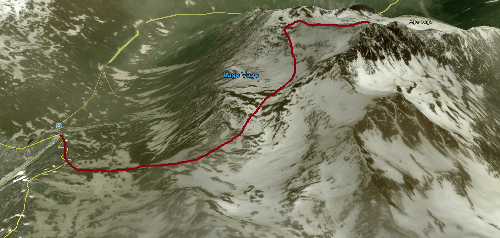 Topography of the route to Monte Vago.