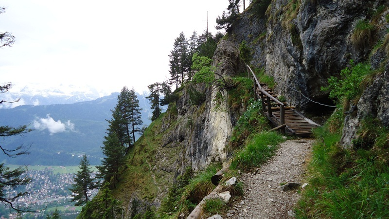 A typical mountaineering environment: a pleasant mountain path to Kramerspitze (1985 m) in German Alps.