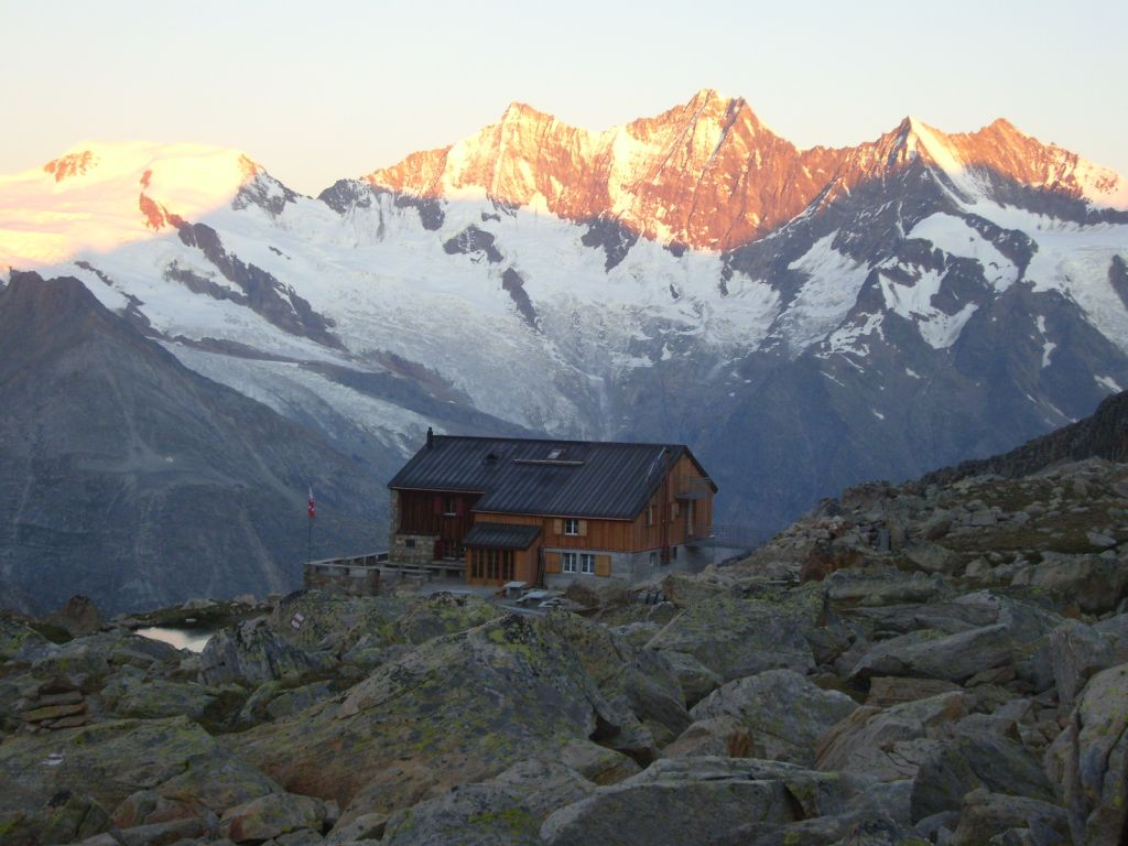 Almageller hut (2894 m) on the south-east route to Weissmies (4023 m). From my second climb.