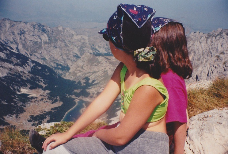 My daughters aged 9 and 11 on the summit of Durmitor, Montenegro, 2522 m.