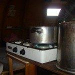 Gas stove inside the refuge.