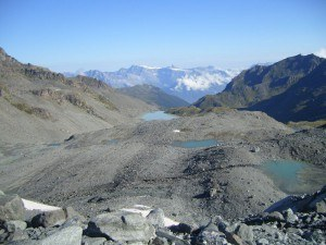 Glacier lakes on the route to Rosablanche.