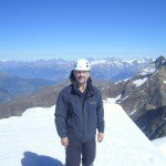 On the summit of Weissmies (4023 m). Lagginhorn (4010 m) is behind.