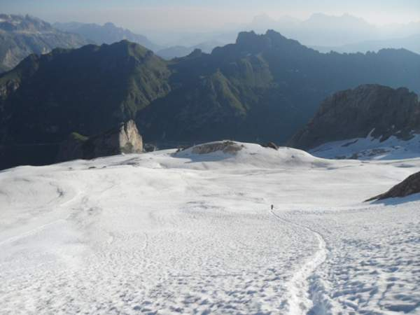 On the Marmolada glacier - view back towards the pass and the hut.