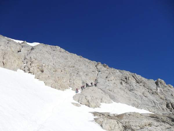 The ferrata section above the glacier.