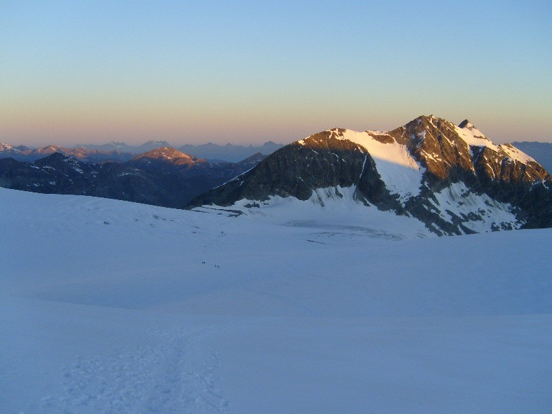 On Bishorn glacier; view back toward the hut.