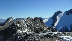 Hubschhorn-The summit and Wasenhorn (left) and Breithorn (right).