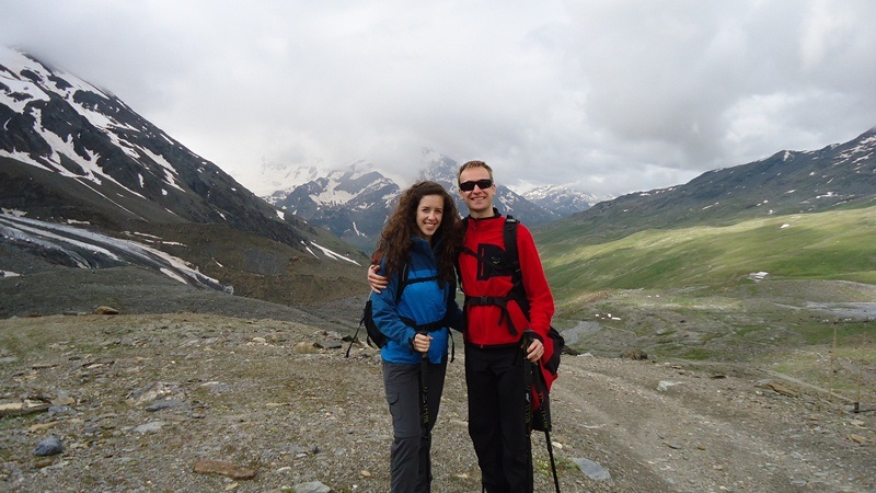 Jelena and Tibor at the end of Cedec valley. Pizzini hut on the right below.