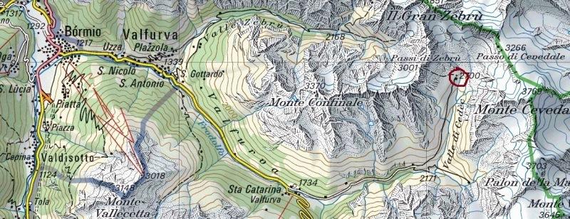 Pizzini hut (Rifugio Pizzini)- Map of the access roads to Pizzini hut.