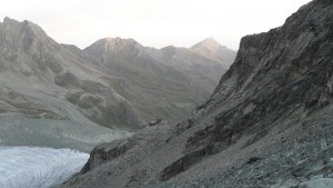 Moiry hut and Sasseneire far behind.