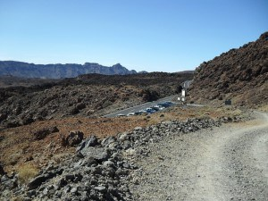 Car parking at the road (2350 m) from where the route starts.