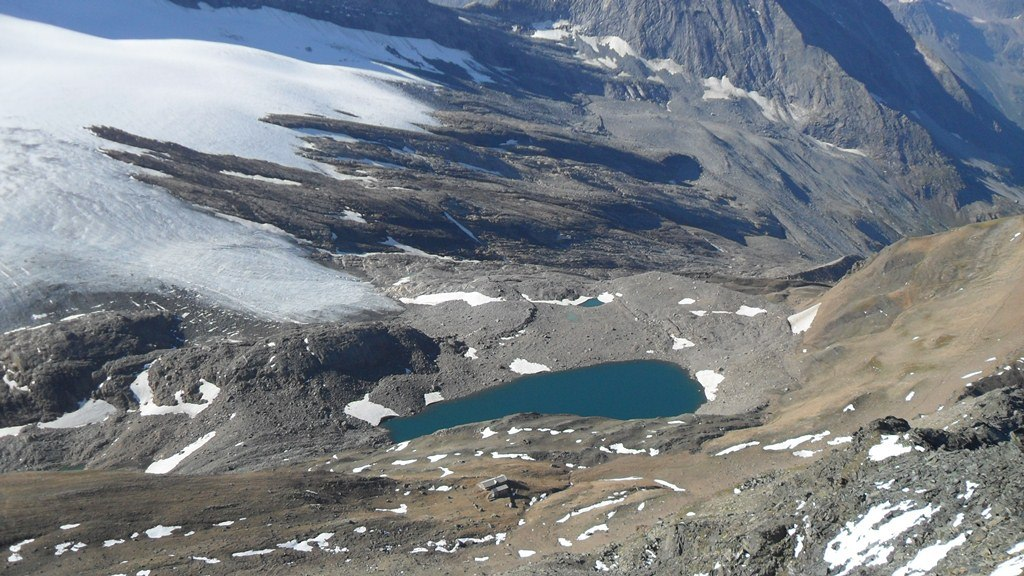 Monte Leone hut and lake, view from the summit.