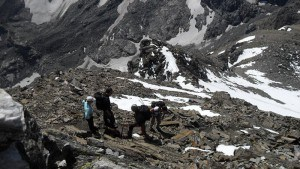 Climbers on the upper part of the route.