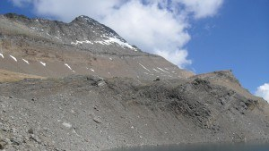 Farewell photo of Wasenhorn and Monte Leone hut. A rather foreshortened view.