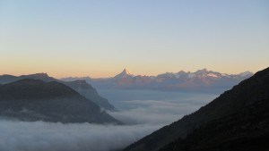My first photo on the route to Wasenhorn, view of Bietschhorn.