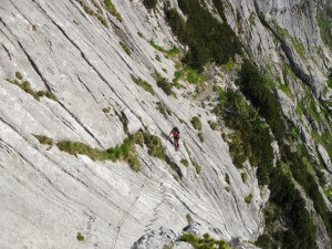 Climbing Zugspitze-Climbers on the route