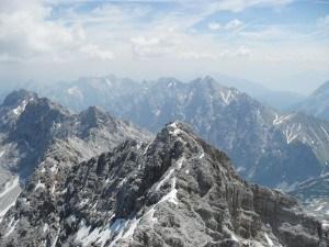 Jubiläumsgrat Ridge route connecting Alpspitze with Zugspitze.