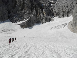 Climbing Zugspitze -On the glacier.