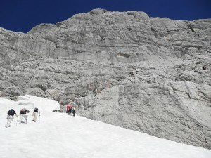 Climbing Zugspitze- At the end of glazier part