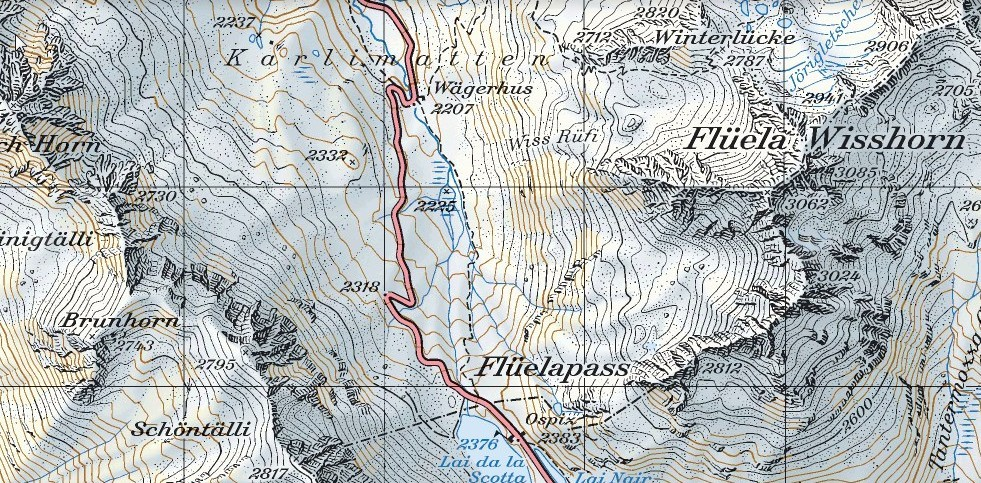 Route map to Fluela Wisshorn. Source: Federal Topographical Office