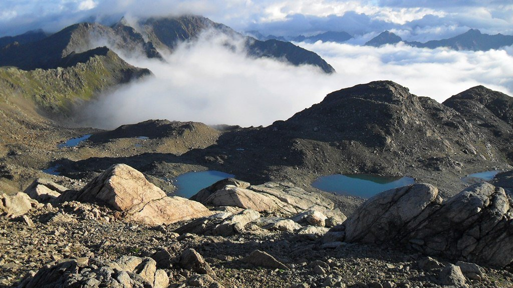 View from Winterlucke pass, 2787 m, and beautiful glacier lakes. Imagine the moment of solitude here in such an early morning.