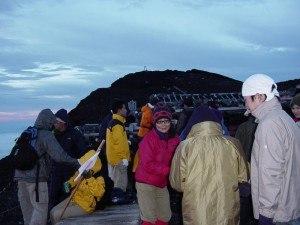 Climbing Mount Fuji.