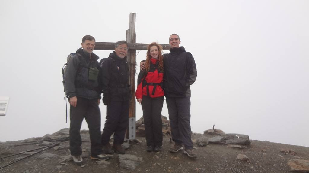The group proudly on the summit.
