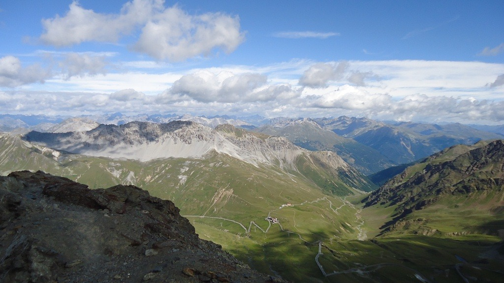 Piz Umbrail, south-east view from the summit of Punta Rosa (Rotlspitz). Umbrail pass below.