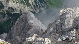 Zoomed photo of people on the ferrata route.