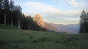 climb Alpspitze - view of Waxenstein in early morning