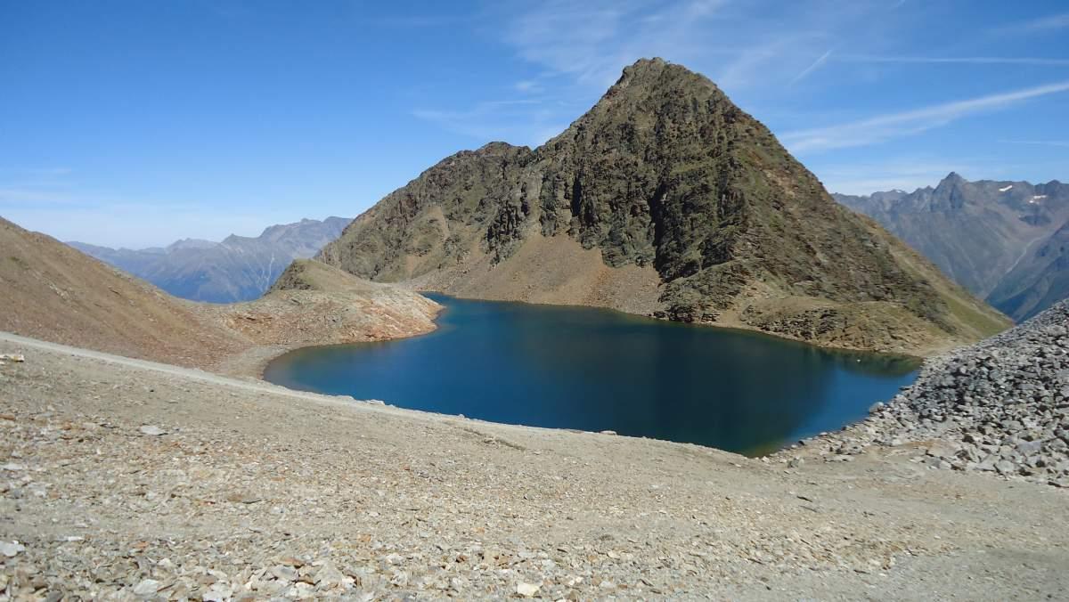 Schwarzkogel lake seen from the summit.