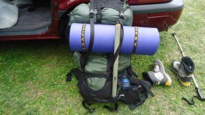 My heavy backpack with all camping stuff.
