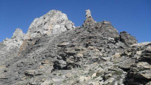 View toward the summit of Becs de Bosson, with unstable rock everywhere.