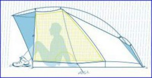 Hybrid type, with the mesh in one part of the tent only.