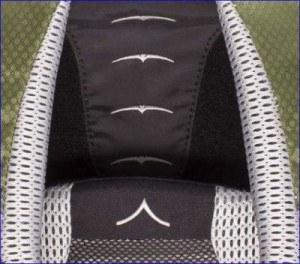 Adjustable harness of Osprey Kestrel 38 pack.