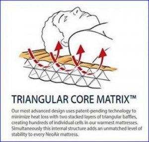 Triangular Core Matrix inside the pad.