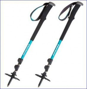 A pair of Black Diamond Trail poles, packed size.