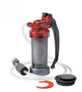 MSR Miniworks microfilter with the intake hose and gauge.