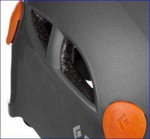 Ventilation openings on Half Dome helmet.