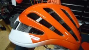 Large ventilation openings on Petzl Meteor climbing helmet.