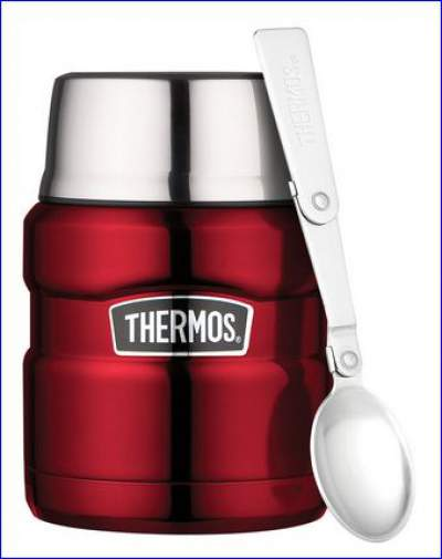 Thermos Stainless Steel King 16 Ounce Food Jar with the integrated spoon.