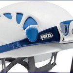 Petzl Elios helmet with Petzl Tikka R Plus headlamp.