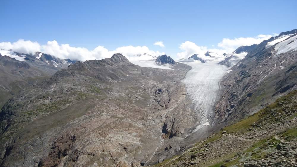 View from Ramol Hut (3006 m) toward Obergurgler glacier, Austrian Alps.