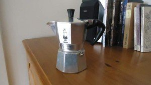 My own Bialetti coffee pot - silver color.