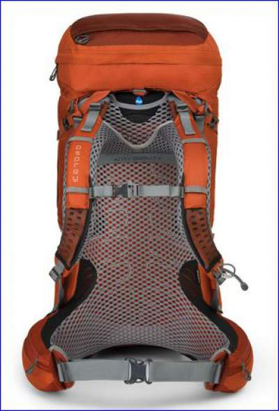Best multi day backpacks: Osprey Atmos 50 AG with anti gravity suspension system.