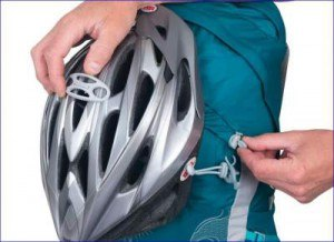 Helmet attached to the front.
