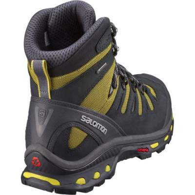 Nicely designed back side and heel of Salomon Quest 4D 2 GTX hiking boots.