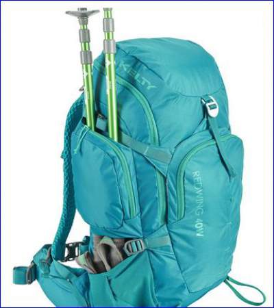 Pass through feature for carrying trekking poles or tent poles.
