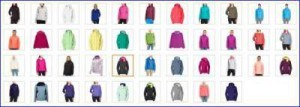 All possible color combinations (outside and inside).